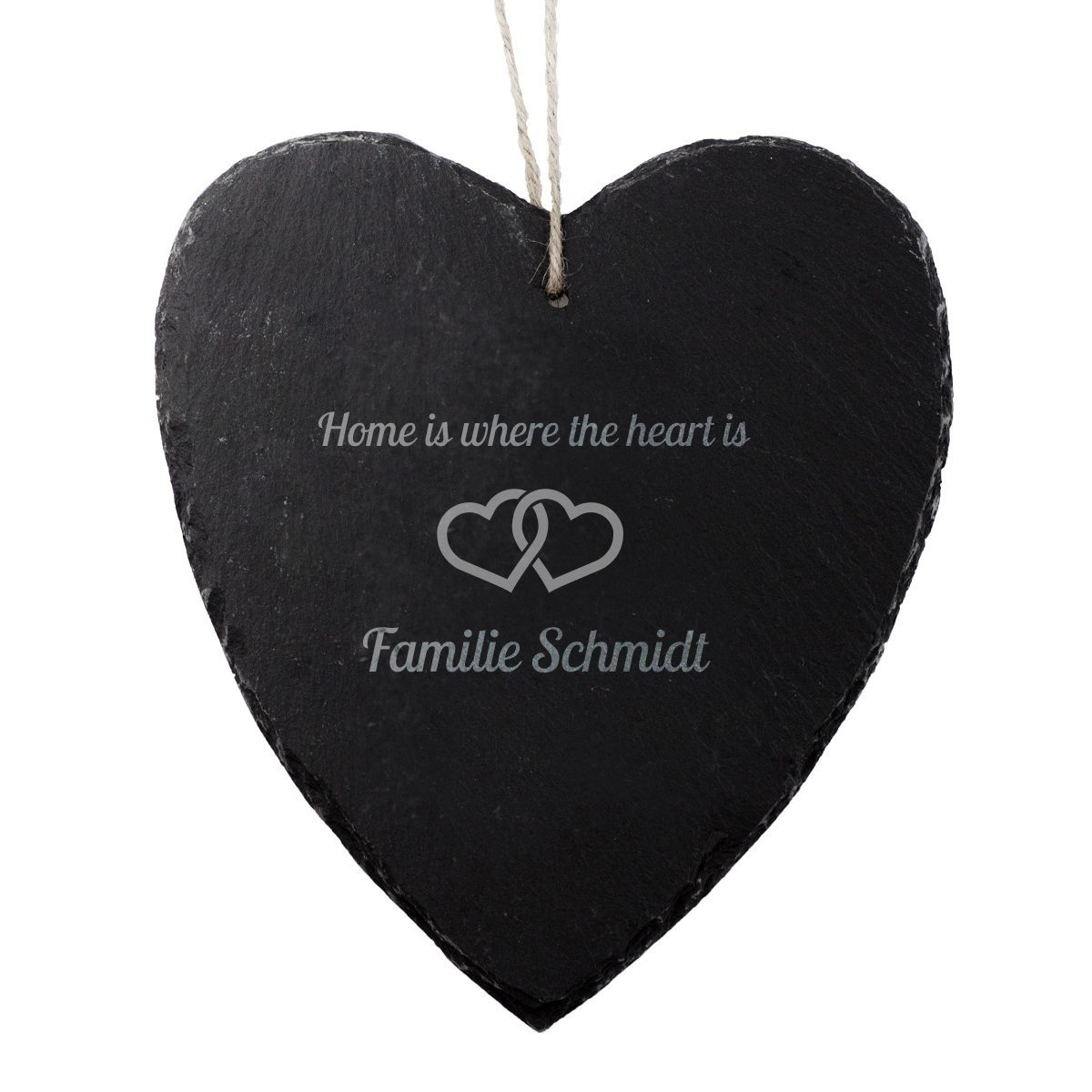 SCHIEFER-HERZ MIT GRAVUR HOME IS WHERE THE HEART IS