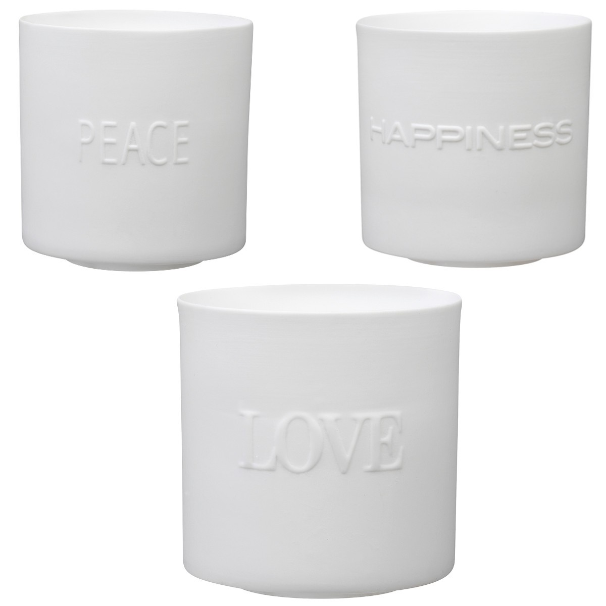 "Teelicht-Set ""Love, Peace & Happiness"""