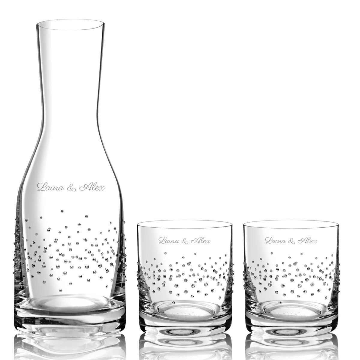 DECANTER WITH GLASSES AND SWAROVSKI DECORATION