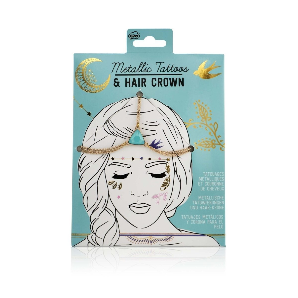 Metallic Tattoos & Haarkrone – Fashion Set - Vollansicht