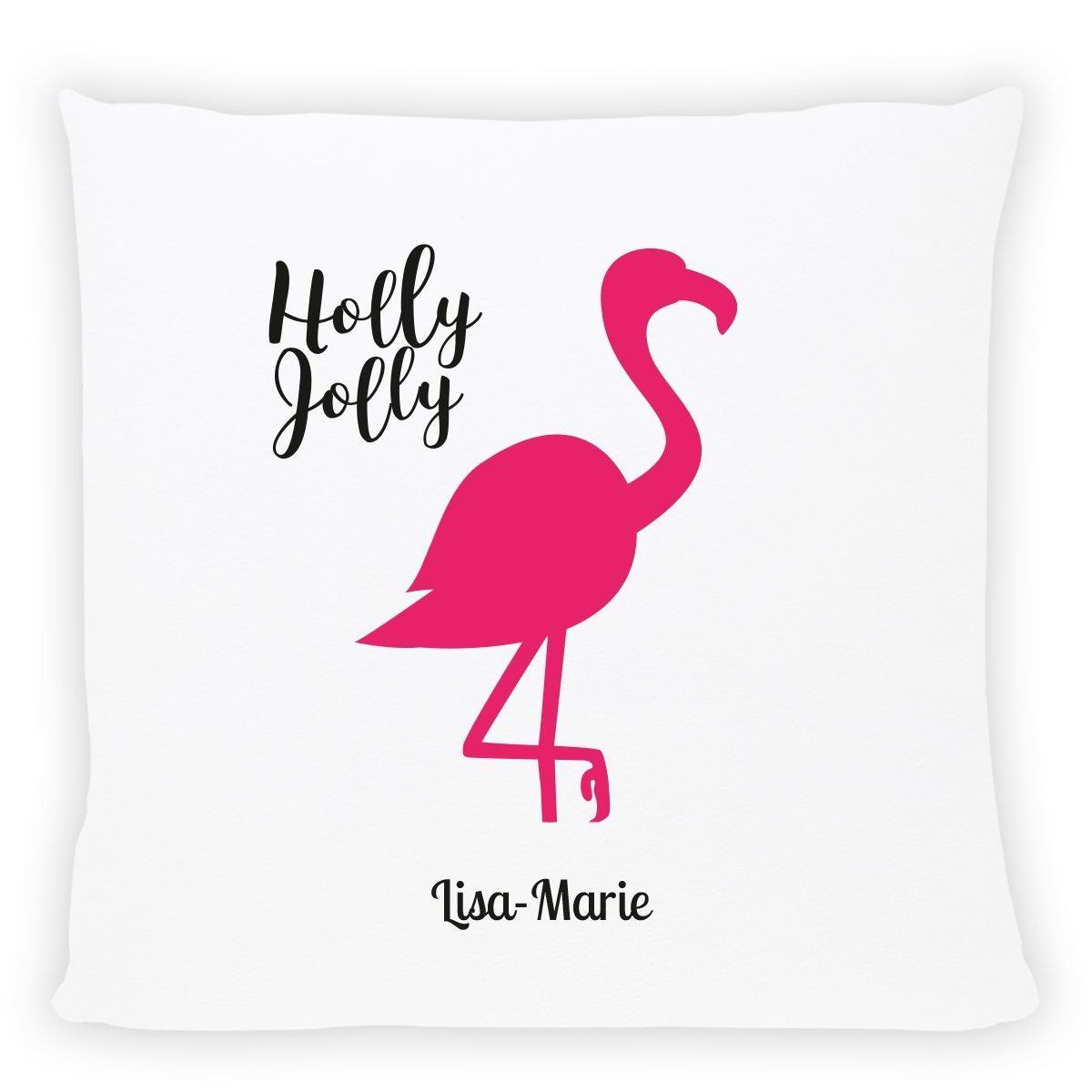 """PERSONALIZED PILLOW """"HOLLY JOLLY FLAMINGO"""""""