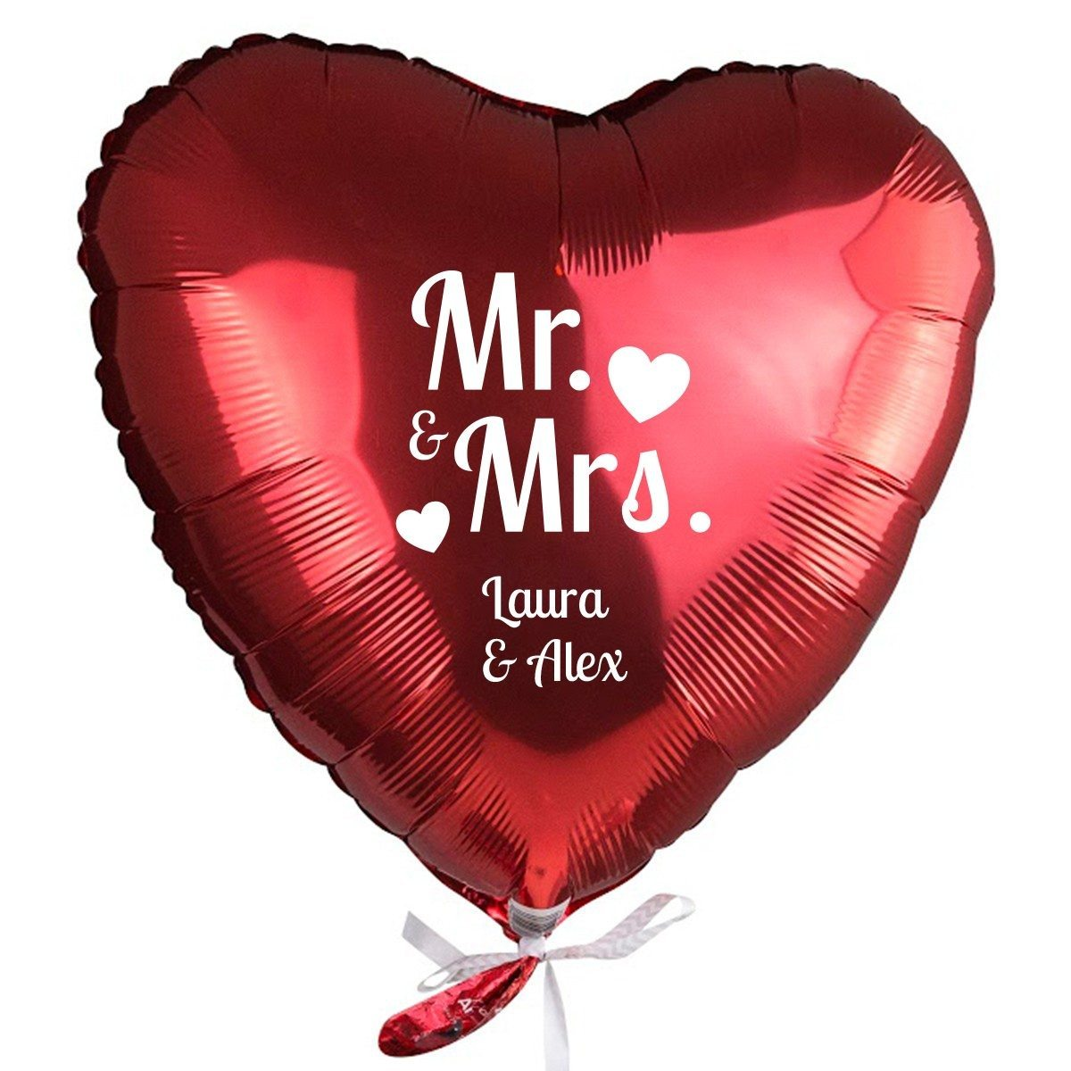 "PERSONALIZED RED HELIUM HEART BALLOON ""MR. & MRS"""