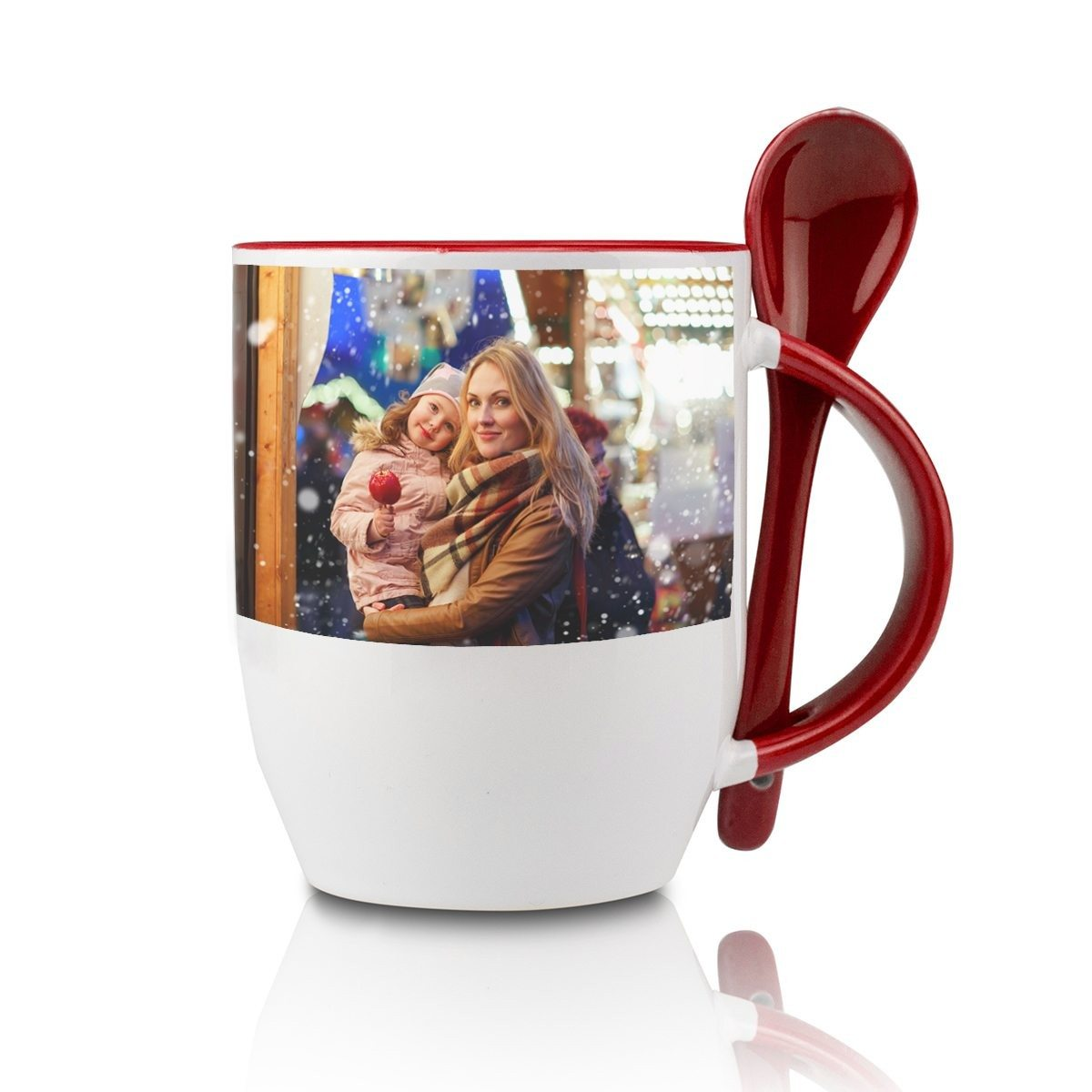 RED SPOON CUP WITH PHOTO PRINT
