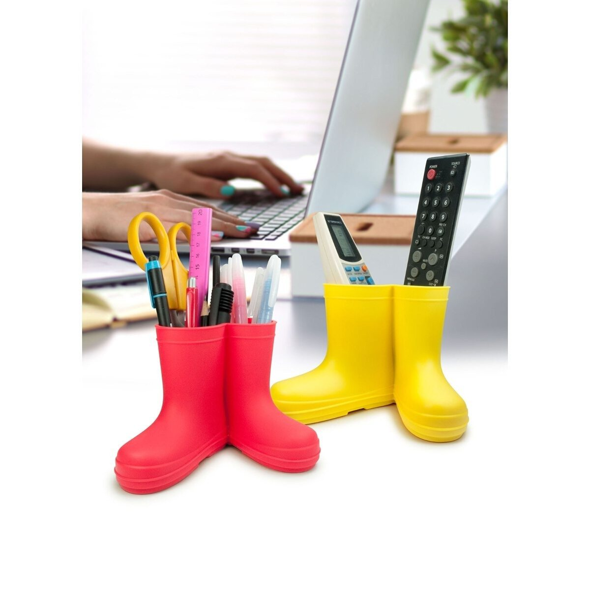 Rubber Boots Pen Holder - red