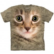 Big-Face Tier-T-Shirt - Katze braun