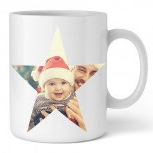 PERSONALIZED CUP WITH STAR SHAPED PHOTO PRINT
