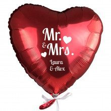 """PERSONALIZED RED HELIUM HEART BALLOON """"MR. & MRS"""""""