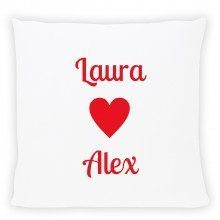 pwesonalised pillow with names red
