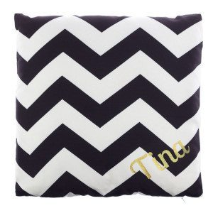 BLACK AND WHITE CHEVRON PILLOW WITH GOLDEN NAME