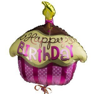 "Cupcake-Helium-Ballon ""Happy Birthday"""