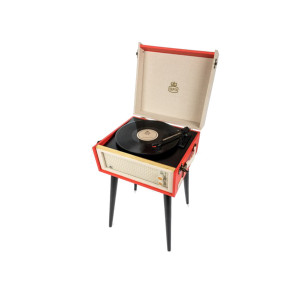 SUITCASE RECORD PLAYER ON LEGS WITH BUILT-IN SPEAKERS