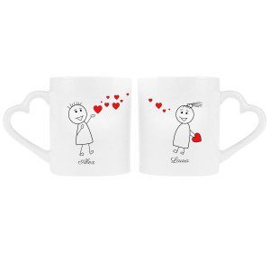 "PERSONALIZED PARTNERCUP WITH COMIC STYLE ""LOVERS"" DESIGN"