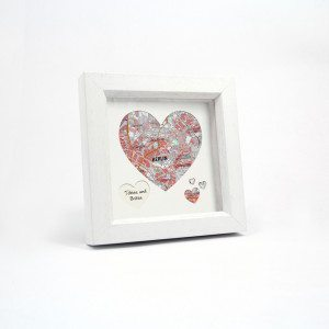 PERSONALISED MAP HEART IN FRAME