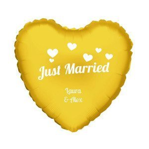 "PERSONALIZED GOLD HELIUM HEART BALLOON ""JUST MARRIED"""