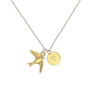 PERSONALIZED GOLDEN ANOA BIRD NECKLACE