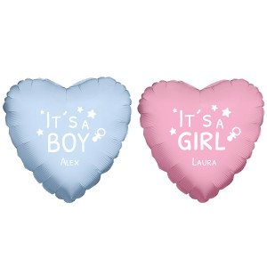 PERSONALIZED HEART SHAPED HELIUM BALLOON WITH BABYNAME