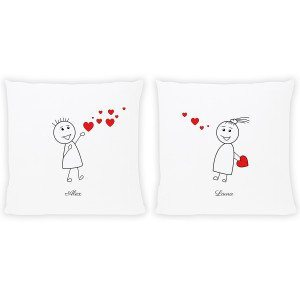 "PERSONALIZED PILLOW WITH COMIC STYLE ""LOVERS"" DESIGN"