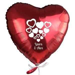 PERSONALIZED RED HELIUM BALLON WITH HEART DESIGN