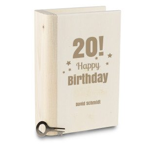 PERSONALIZED WOODEN BOOK MONEY BANK WITH BIRTHDAY DESIGN