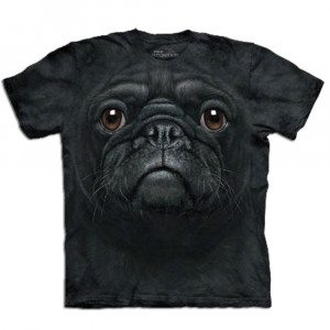 "T-Shirt ""Big Face"" – Schwarzer Mops"