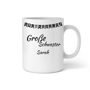 "PERSONALIZED CUP WITH GARLAND ""BIG SISTER"""