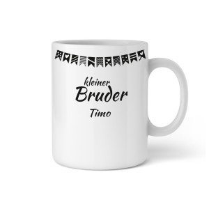"PERSONALIZED CUP WITH GARLAND ""LITTLE BROTHER"""