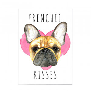 "Witziger Kunstdruck ""Frenchie Kisses"""