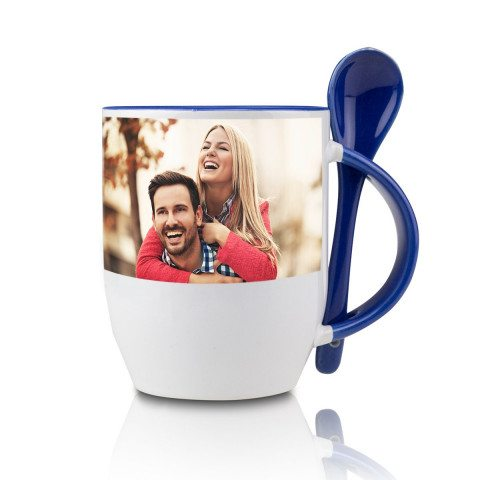 BLUE SPOON CUP WITH PHOTO PRINT