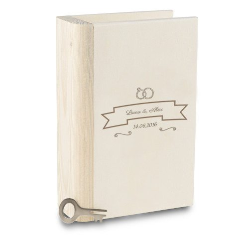 PERSONALIZED WOODEN BOOK MONEY BANK WITH WEDDING DESIGN