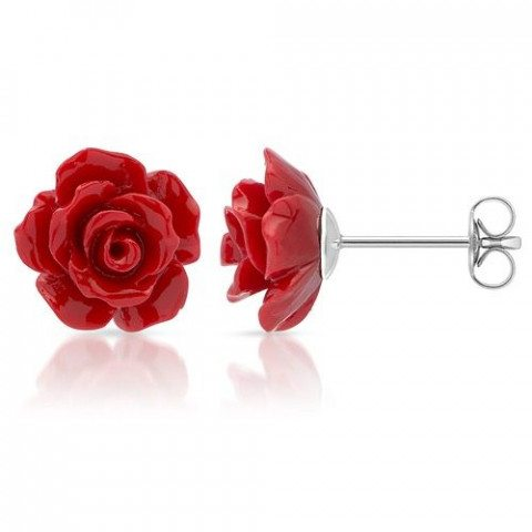 Ohrstecker Rote Rosenblüte 1