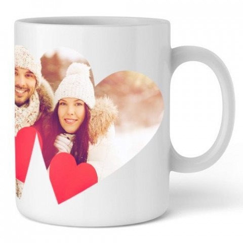 PERSONALIZED CUP WITH DOUBLE HEART SHAPED PHOTO PRINT