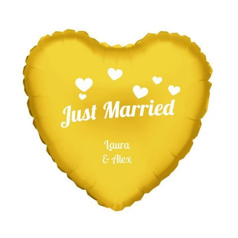 """PERSONALIZED GOLD HELIUM HEART BALLOON """"JUST MARRIED"""""""