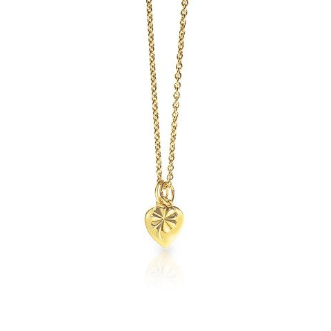 PERSONALIZED GOLDEN NECKLACE WITH HEART AND SHAMROCK PENDANT