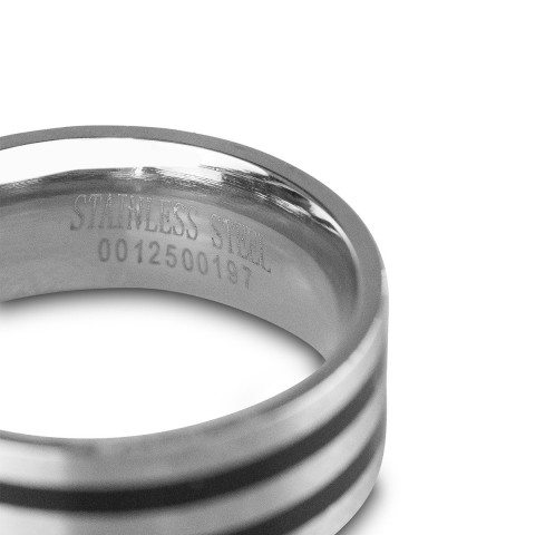 PERSONALIZED MEN`S RING WITH BLACK STRIPES