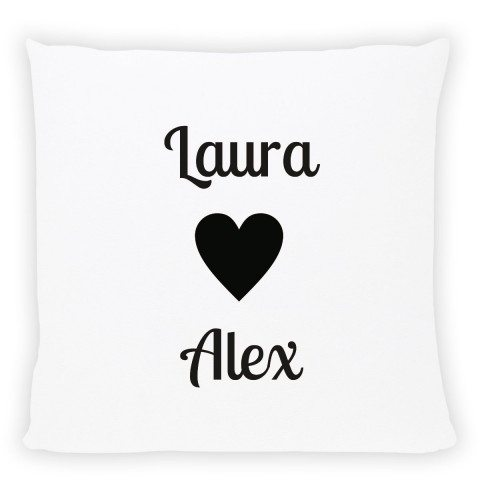 pwesonalised pillow with names black