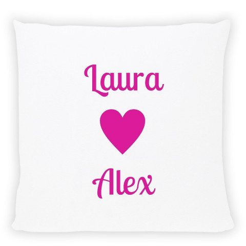 pwesonalised pillow with names pink