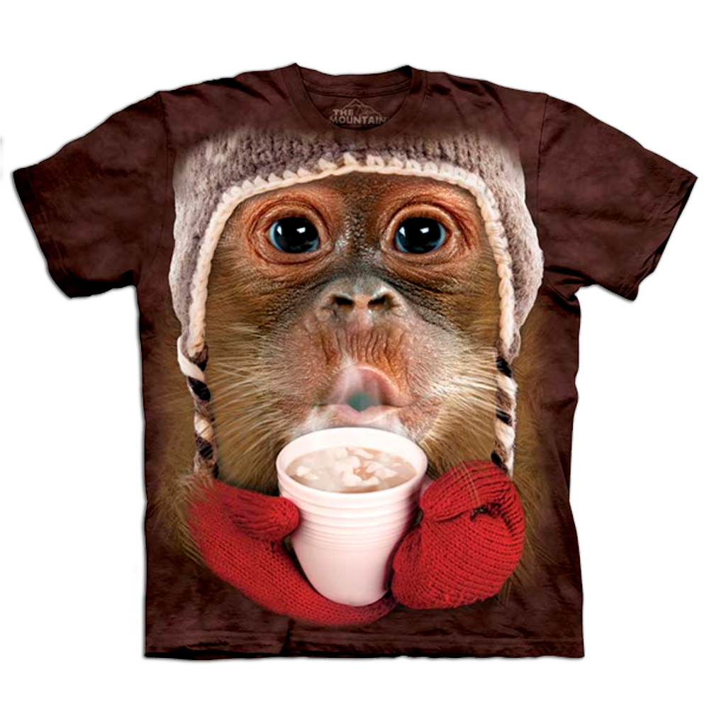 Kinder T Shirt Big Face Orang Utan