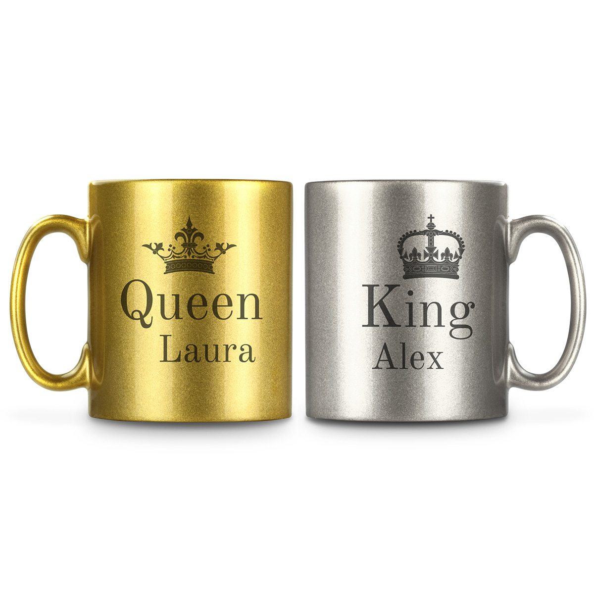 Personalisierbare Partnertasse Gold Silber King And Queen