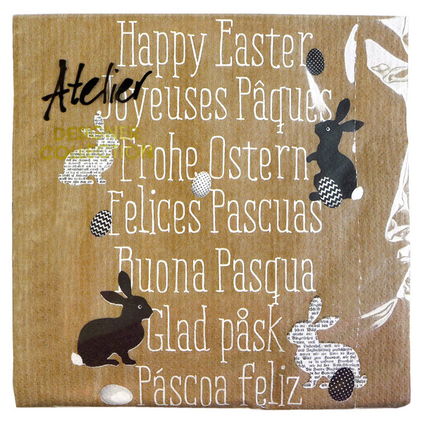 Serviette Frohe Ostern in 7 Sprachen