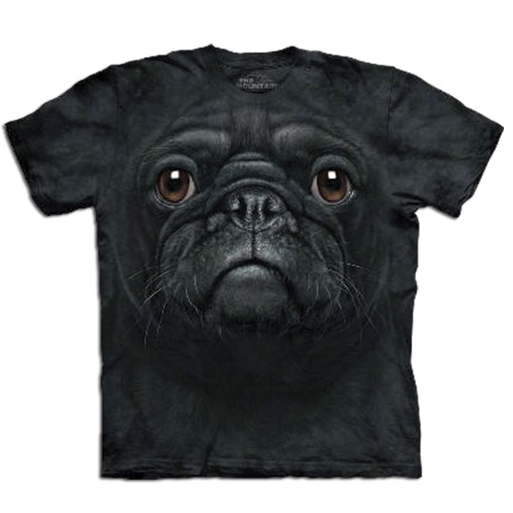 T Shirt Big Face Schwarzer Mops